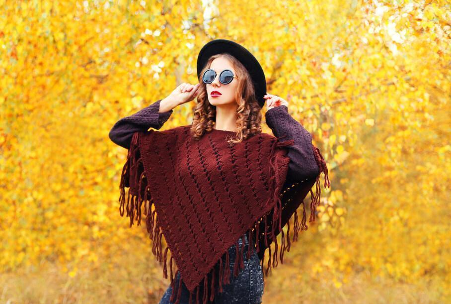 red-brown fringed poncho