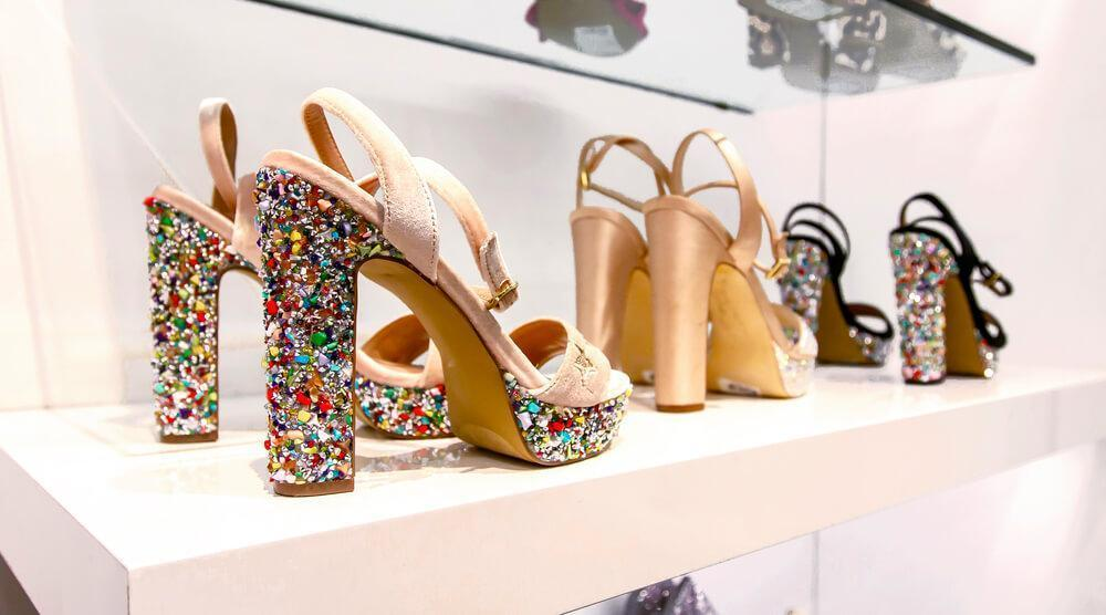 high heels with rhinestones