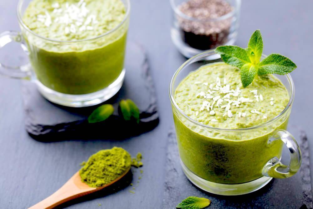 matcha smoothie on table