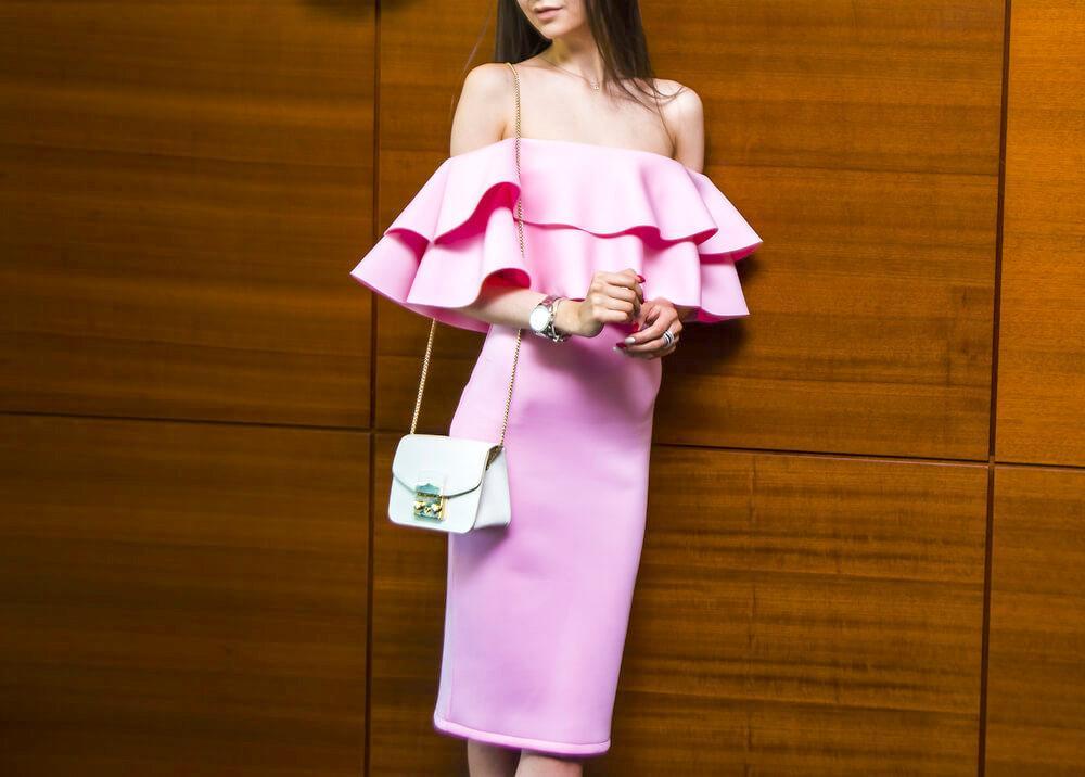 pink ruffly dress