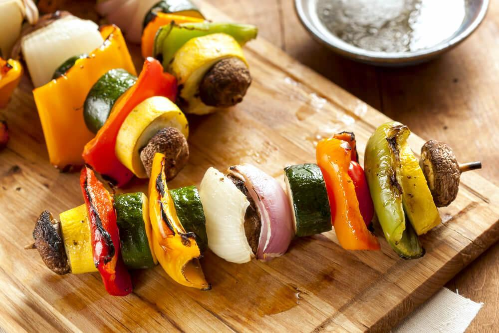 Grilled vegetables on skewers, also known as a vegetable shish kebabs