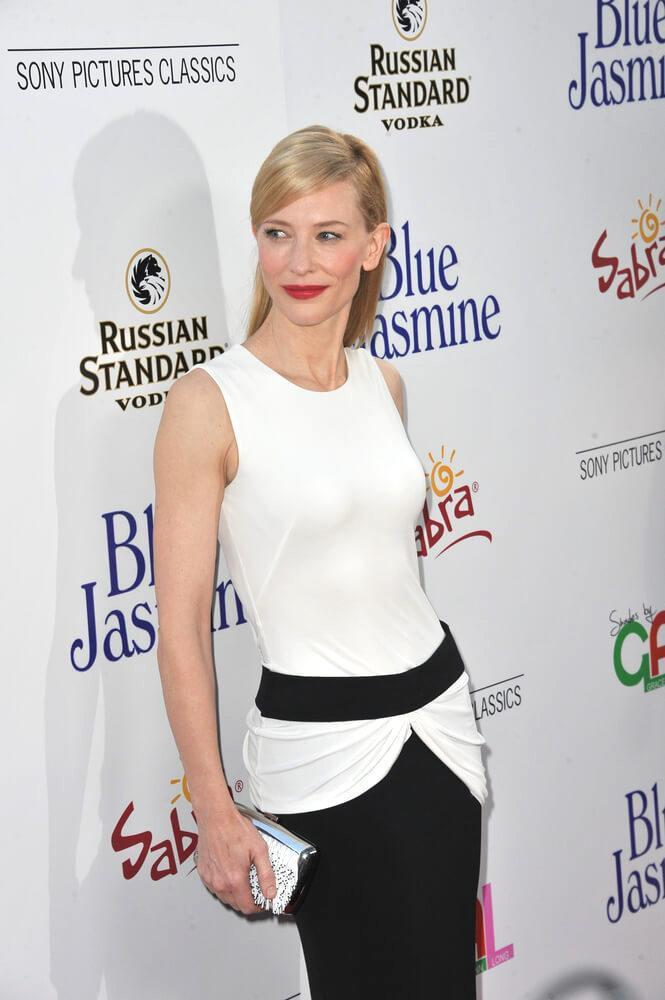 "Cate Blanchett at the Los Angeles premiere of her movie ""Blue Jasmine"" at the Samuel Goldwyn Theatre, Beverly Hills."