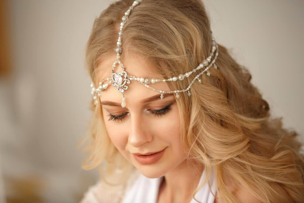 Smiling bride with hair jewellery