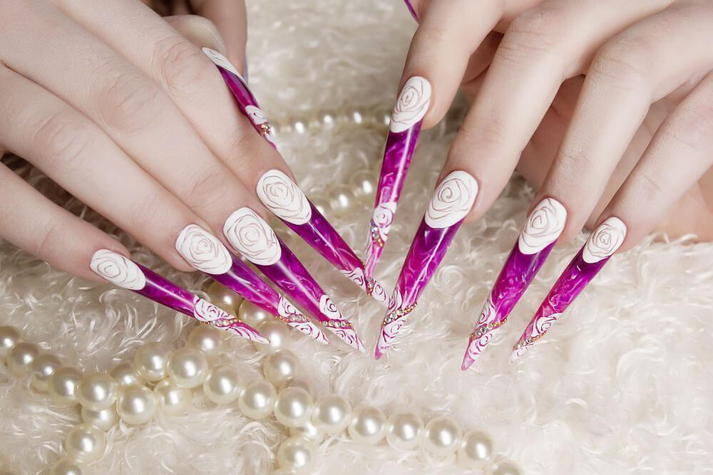 Long nails with nail art