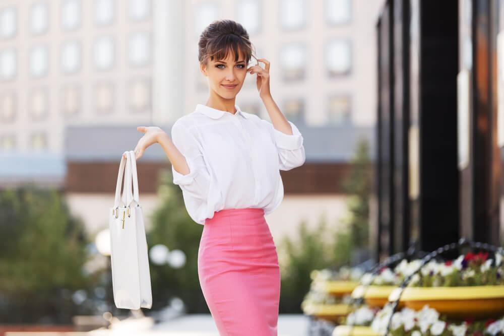 Woman in city wearing pencil skirt