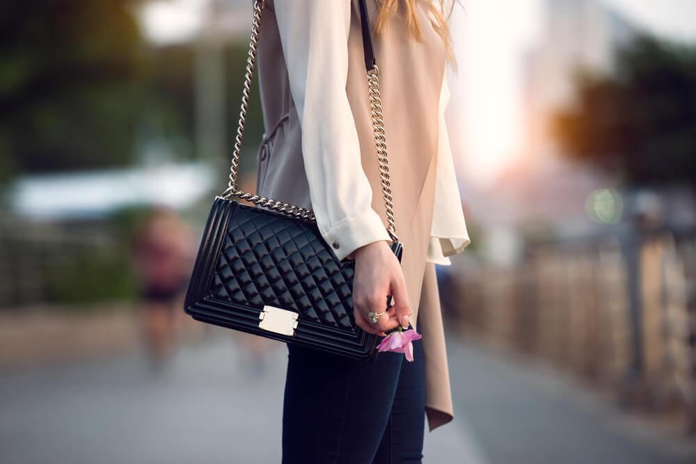 Woman on street with handbag
