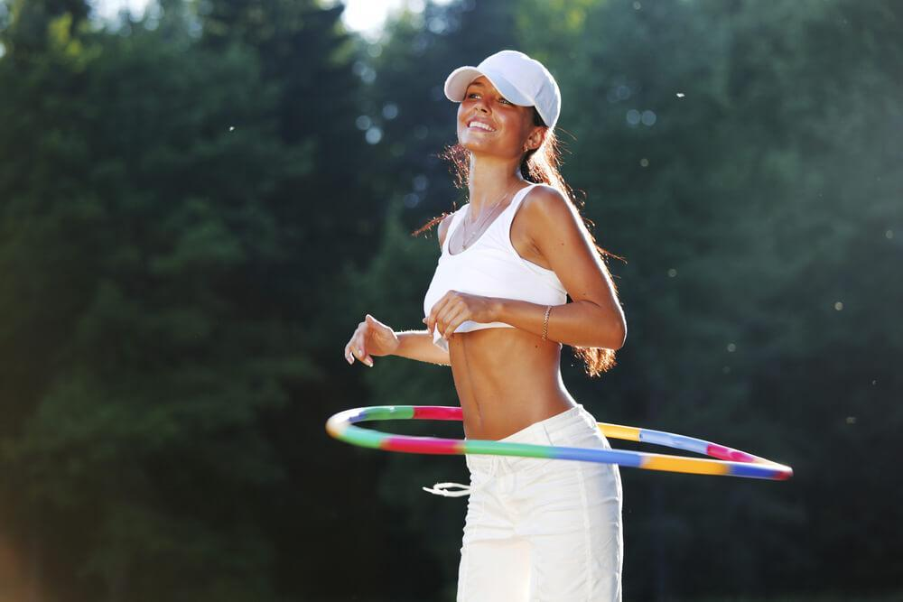 Woman hula hooping