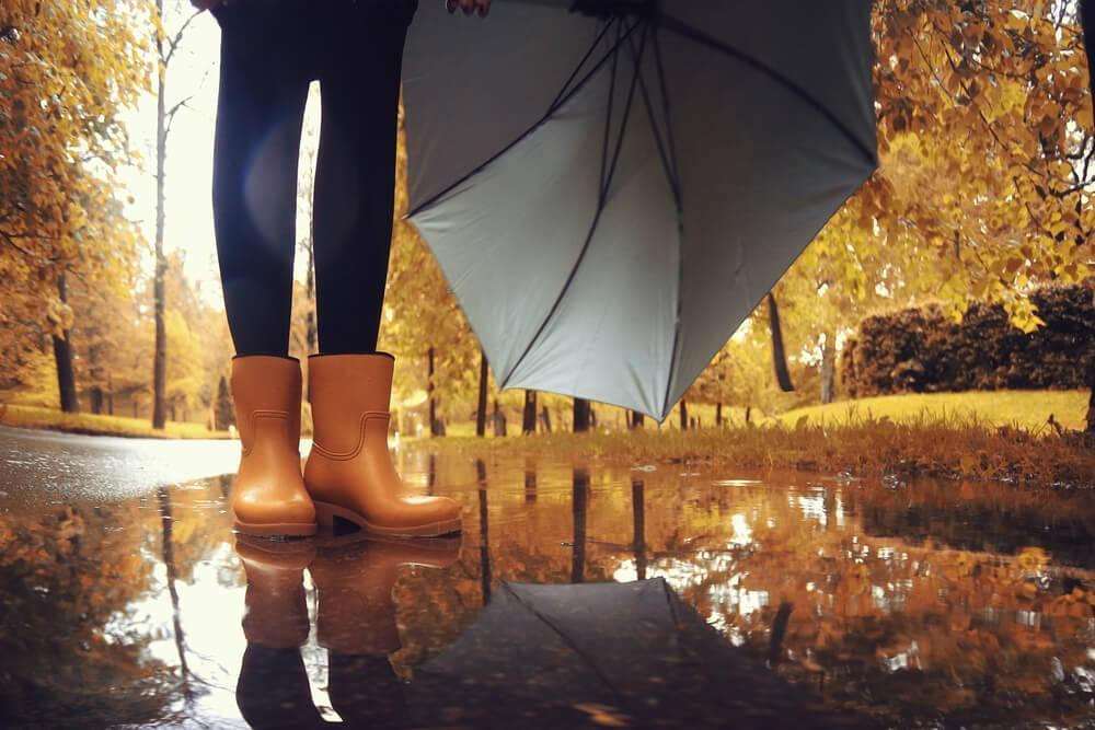 Legs with brown rain boots