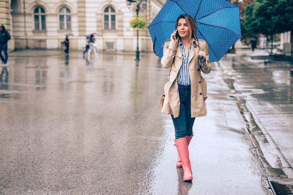 Woman walking in rain on street