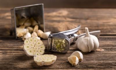 Garlic and garlic press