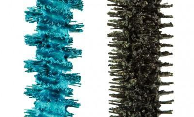 Bright blue and dark green mascara brushes