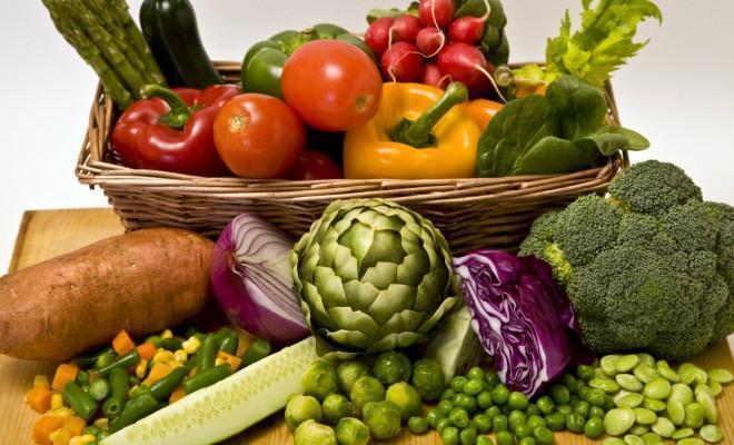 Overflowing basket of vegetables